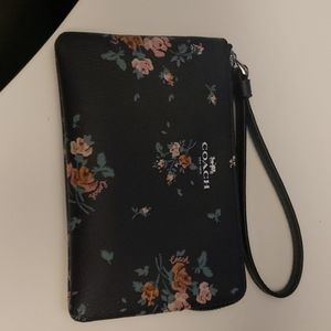 Coach Navy/flower wristlet